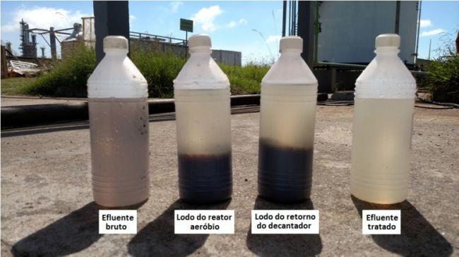 Diferença da água ao longo do tratamento de efluentes.