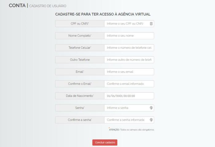 Dados do cliente na Agência Virtual