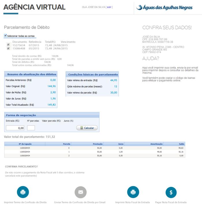 Parcelamento na Agência Virtual